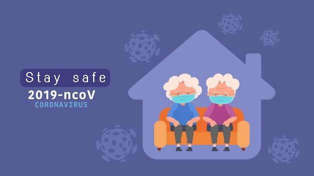 Оставайтесь дома пожилой паре на карантин для снижения риска заражения болезнью