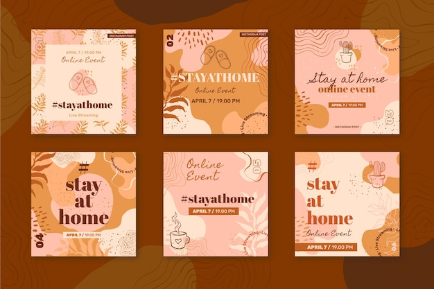 Stay at home event instagram post collection