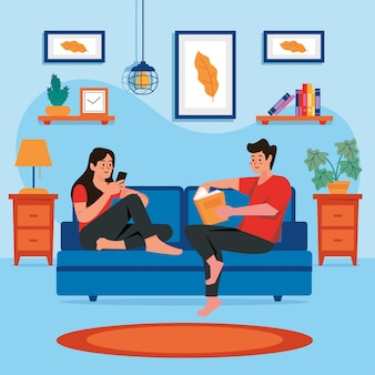 Stay at home family concept vector