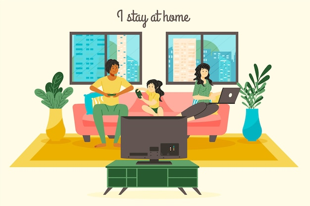 Stay at home family concept