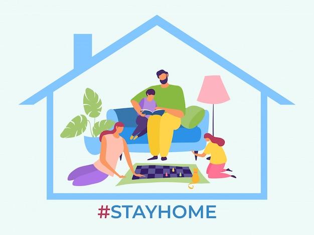 Оставайтесь дома, семья остановит вирус распространения иллюстрации. родители и дети проводят время на карантине. мама играет в шахматы