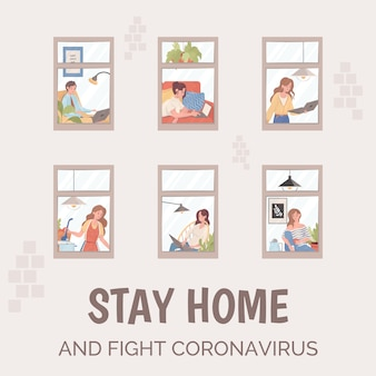 Stay home and fight coronavirus poster template. people working, cooking during global pandemic of coronavirus.