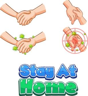 Stay at home font design con diffusione di virus da strette di mano su sfondo bianco