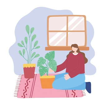 Stay at home, girl takes care for houseplants, self isolation, activities in quarantine for coronavirus