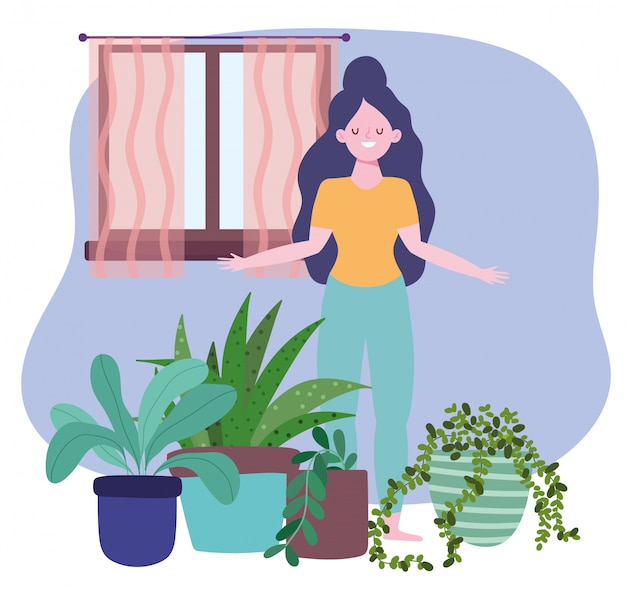 Stay at home, girl with houseplants decoration