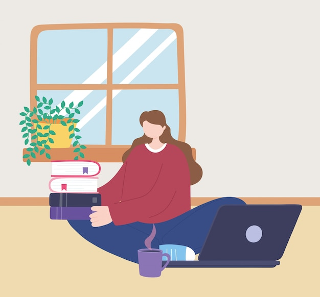 Stay at home, girl with laptop and stack of books and coffee cup, self isolation, activities in quarantine for coronavirus