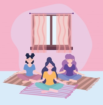 Stay at home, girls in yoga meditation on mat