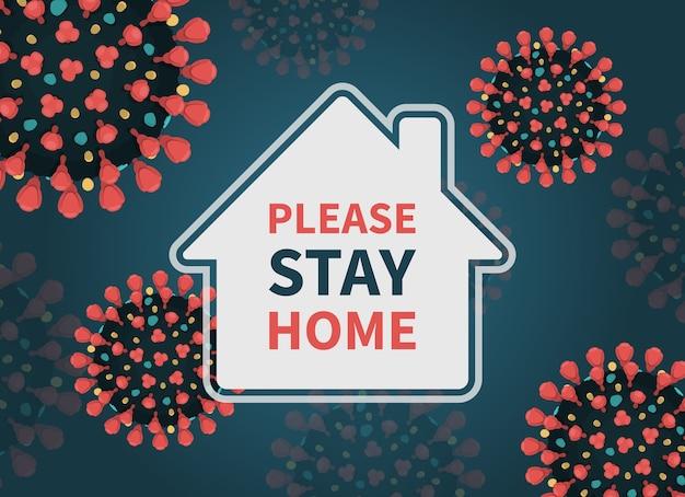 外出禁止令ハッシュタグポスターと家とコロナウイルス