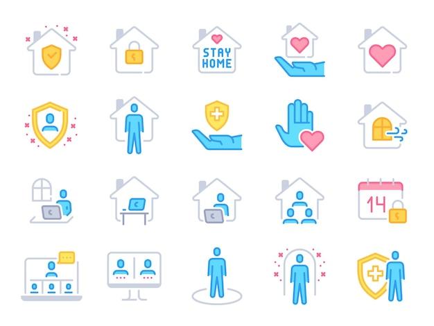 家のアイコンを維持します。パンデミック検疫、集団発生防止、在宅勤務のカラフルな線のアイコン。家の屋根の下の安全ベクトルセット。保護シールド付きの家、ロック、健康を維持