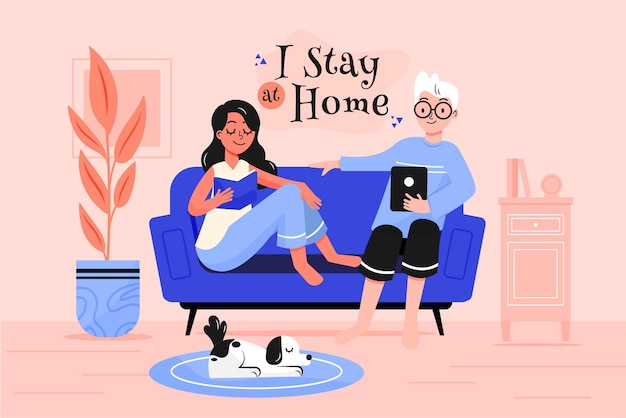 Stay at home illustration concept