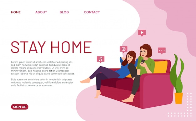 Stay at home. illustration of a family that remained in the house during the covid-19 virus pandemic