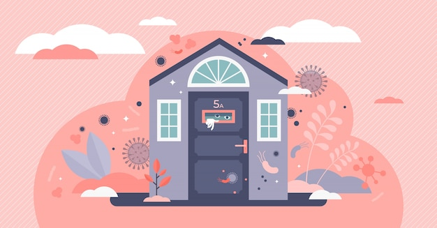 Stay home   illustration. scared human in house flat tiny person concept