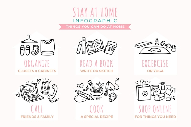 Stay at home infographic design