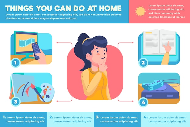 Stay at home infographic in flat design