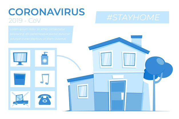 Stay at home infographic with things to do