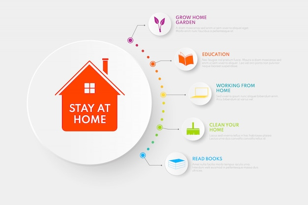 Stay home infographics.  illustration