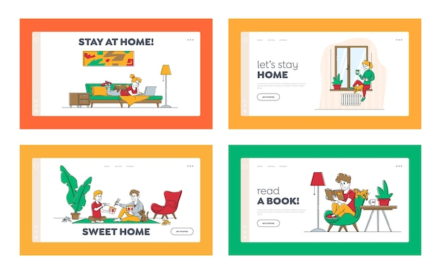 Stay home isolation landing page template set.