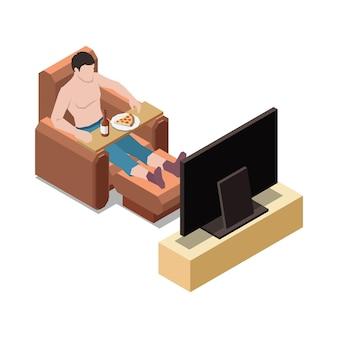 Resta a casa composizione isometrica con personaggio maschile che guarda la tv con illustrazione di cibo spazzatura