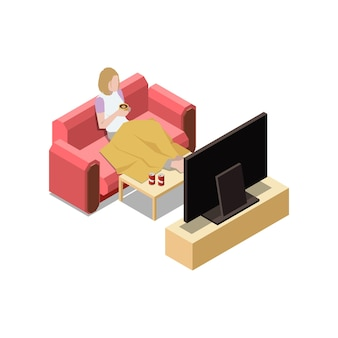 Stay at home isometric composition with woman sitting on sofa watching tv  illustration