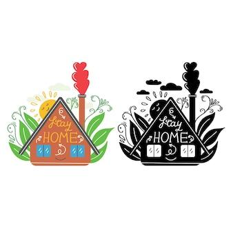 煙突の上の家の屋根の心臓にレタリングをして家にいる安全を保つcovid19コロナウイルス保護