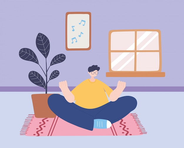Stay at home, man in yoga meditation pose in the room, self isolation, activities in quarantine for coronavirus