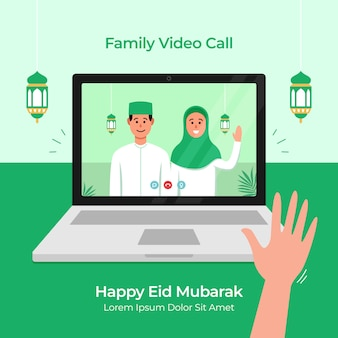 Stay home online video call with family for eid mubarak islamic festival celebration