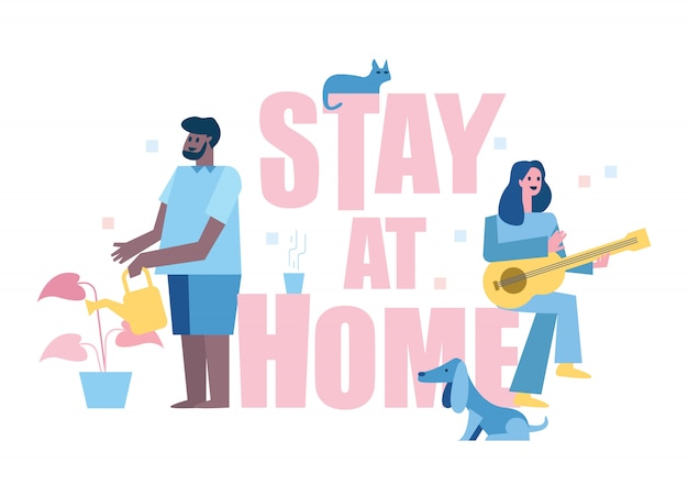 Stay at home. people enjoy home activity. playing guitar, take care plants. home quarantine concept design. illustration