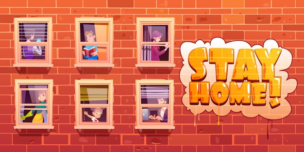 Stay home poster with people in windows