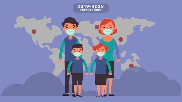 코로나 바이러스 코로나 바이러스 2019-ncov로 인해 우리 모두가 겪고있는 위험 감염 질환 개념 위기 상황을 줄이기 위해 집 검역소를 방문하십시오.