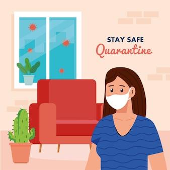 Оставайтесь дома, на карантине или самоизоляции, женщина в медицинской маске в доме, оставайтесь безопасной концепцией карантина.
