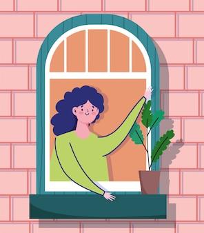 Карантин дома, женщина смотрит в окно с растением в горшке, фасад кирпичного здания иллюстрации