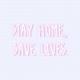 집에 머물고 생명을 구하십시오 코로나 바이러스 네온 사인