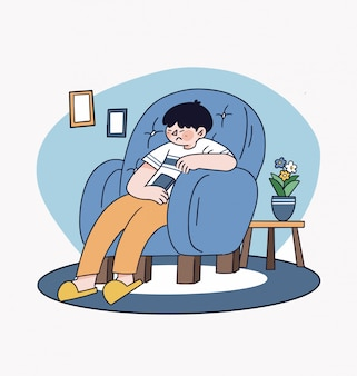 Stay at home simple and clean illustration