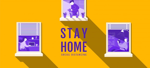 Stay home, social distancing , stop covid-19 concept , people keeping distance for infection risk and disease, coronavirus, cartoon character,  illustration.