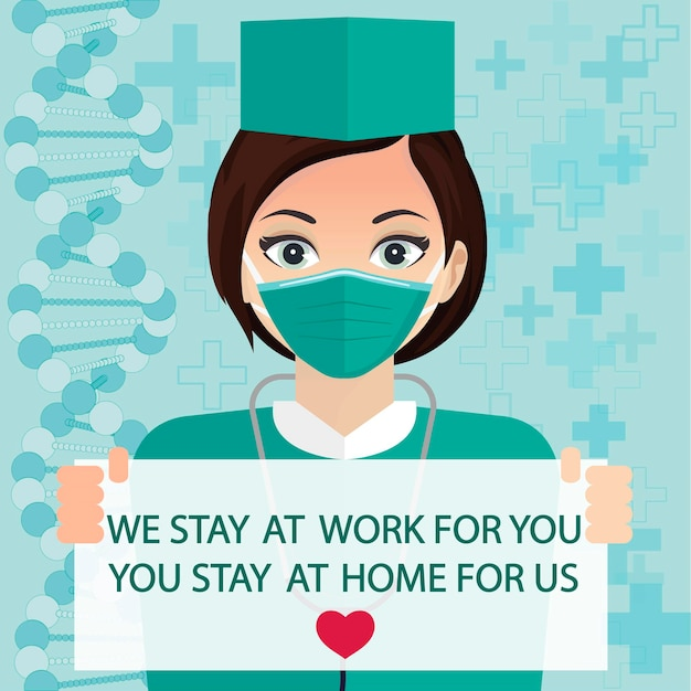 Stay at home social media banner, self-quarantine, coronavirus prevention, self isolation, epidemic covid-19 infection. doctor in mask in the house. vector