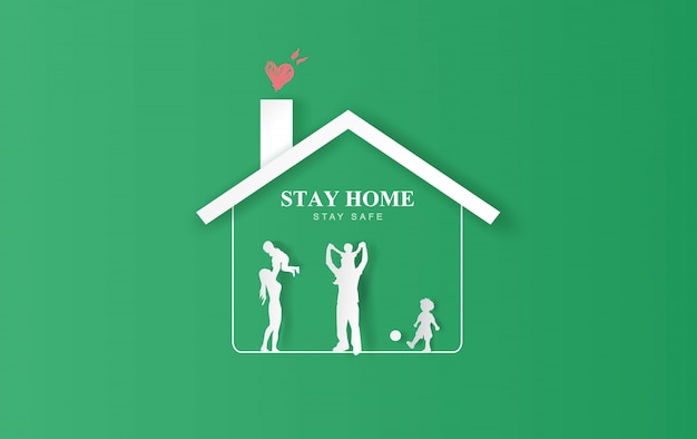 Stay home stay on eco environment background.stay safe with home icon against virus.happy family concept of quarantine and stay at home. covid-19 awareness.space for your text banner website vector