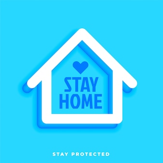 Stay home stay protected design with house symbol