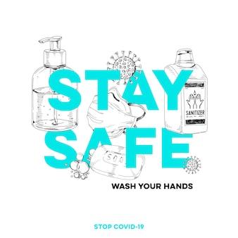 Оставайтесь дома, оставайтесь в безопасности, лучшая защита от вирусной инфекции covid-19, рисованная ретро иллюстрация.