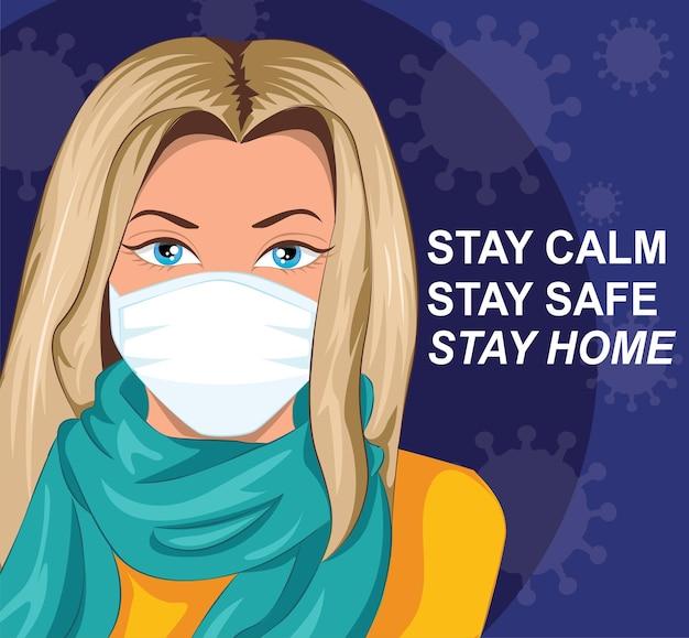 外出禁止令、covid-19を止めましょう、covid-19コロナウイルスの発生で家にいて、ウイルス感染を防ぐために家にいてください。