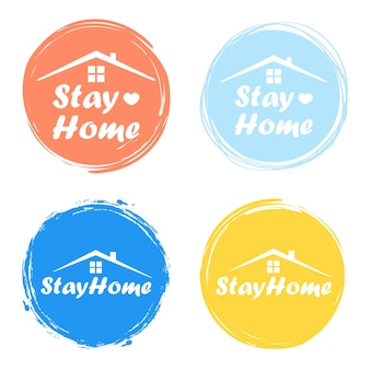 Stay home, stay safe - lettering typography poster with text for self quarantine times. vector illustration.