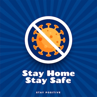 Stay home stay safe and positive poster design Free Vector