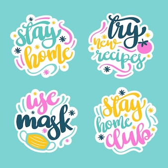 Stay at home stickers set