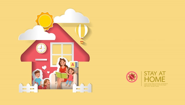 Stay at home, stop coronavirus concept character Premium Vector
