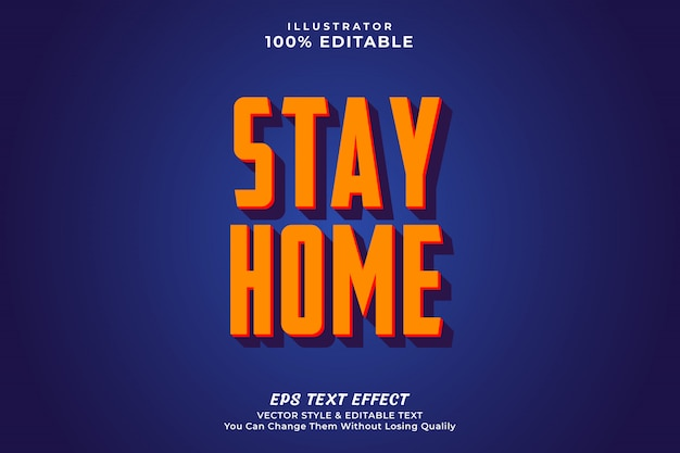 Stay home text effect- editable premium