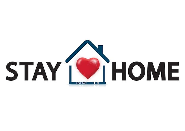 Stay at home text under house roof with heart. covid 19 or coronavirus protection campaign logo.