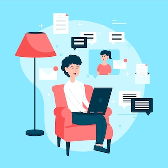 Stay at home with woman working telecommuting