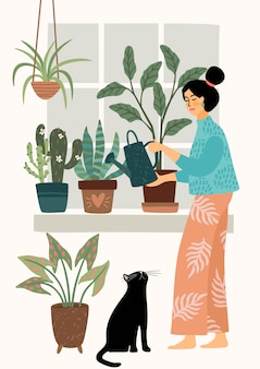 Stay at home. woman watering houseplant.   illustration.