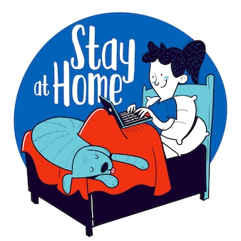 Stay at home. woman works with her laptop from bed