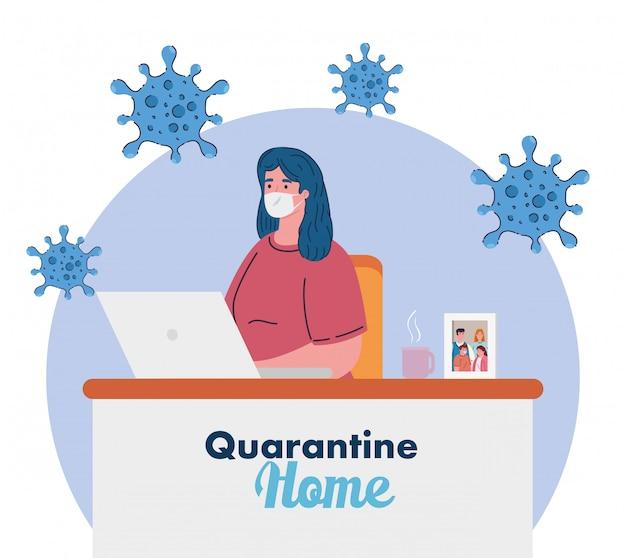 Оставайтесь дома, работайте дома, женщина защищает себя, работая дома, остается дома на карантине во время коронавируса