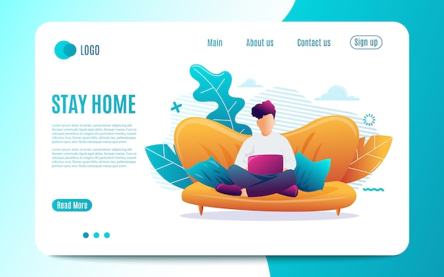 Stay home. young man is sitting with laptop on the sofa at home. working on a computer. freelance, online education or social media concept.